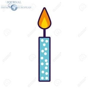 cute blue birthday candle cartoon icon vector